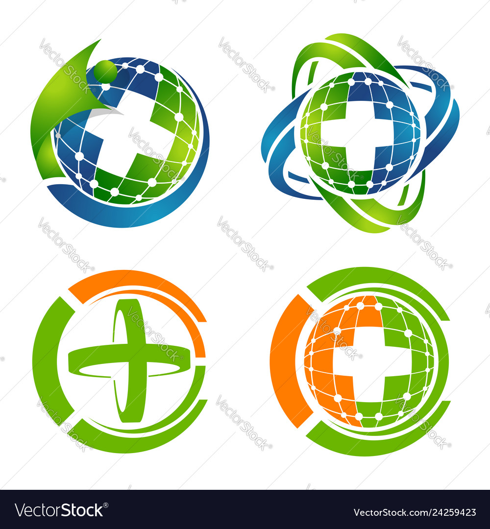 Medical cross logo set concept design symbol