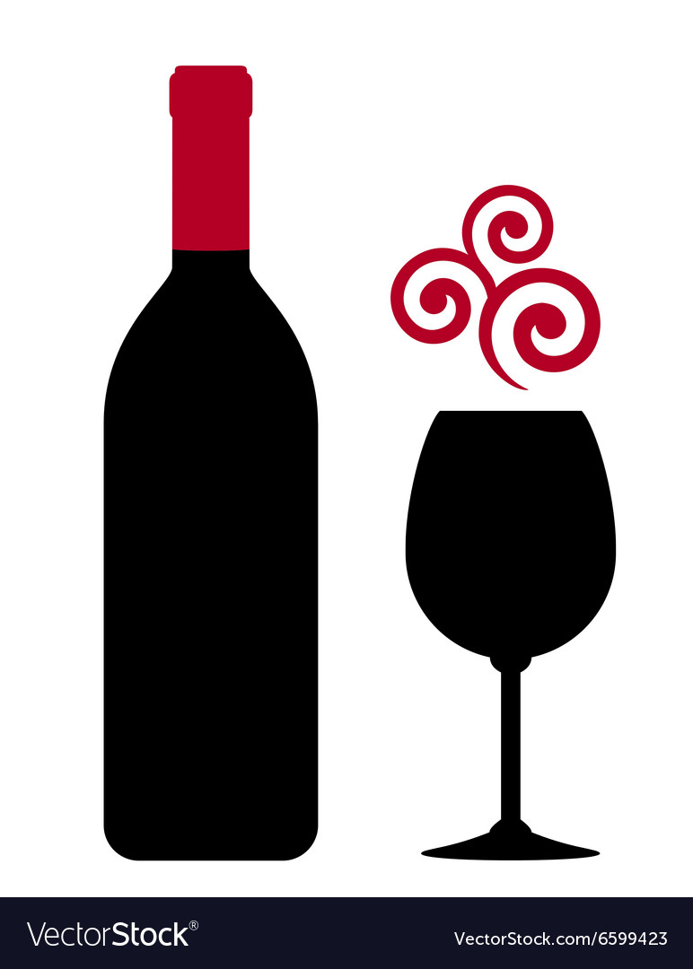Red wine bottle glass and design element