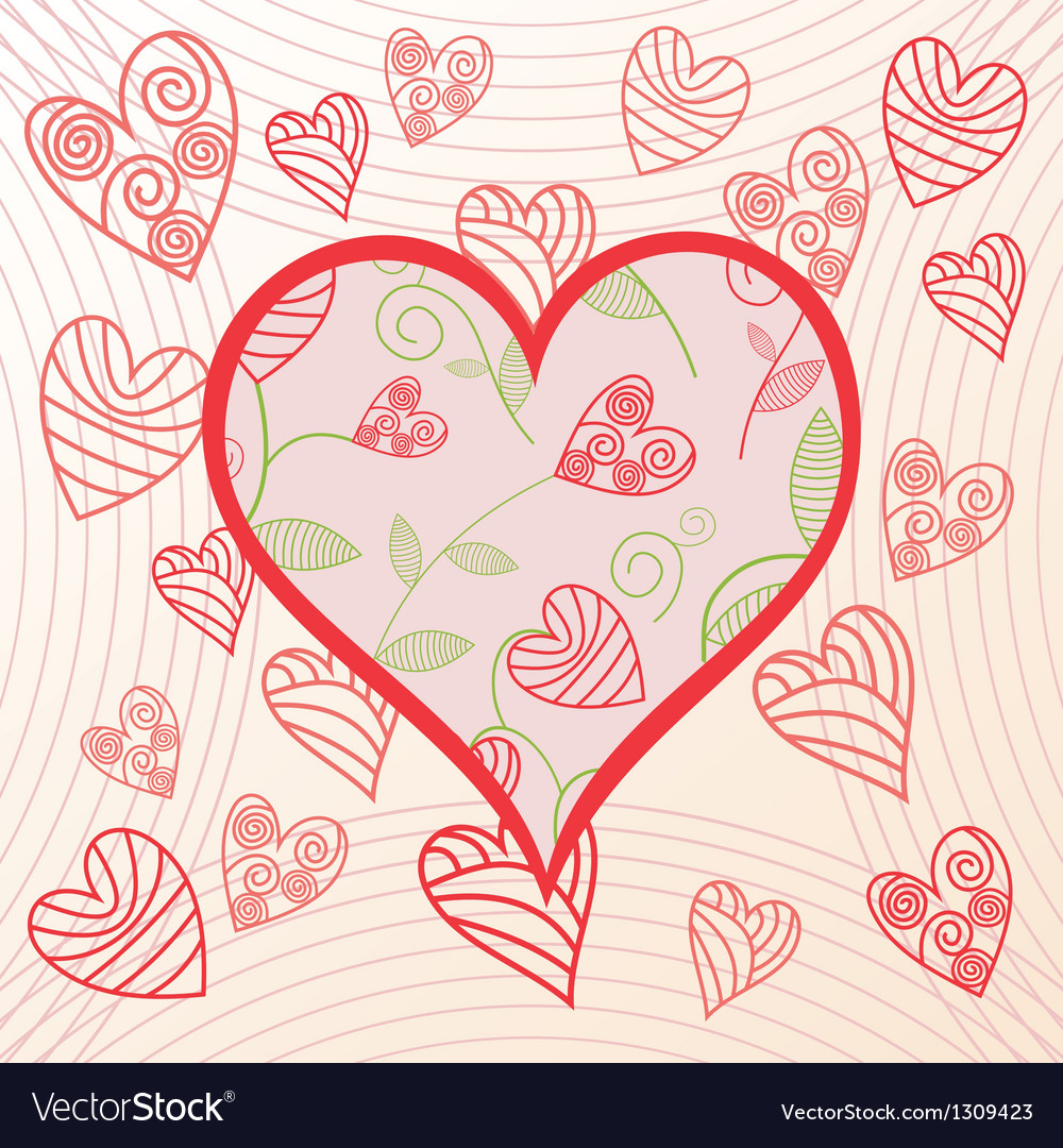 Romantick background hearts vector image
