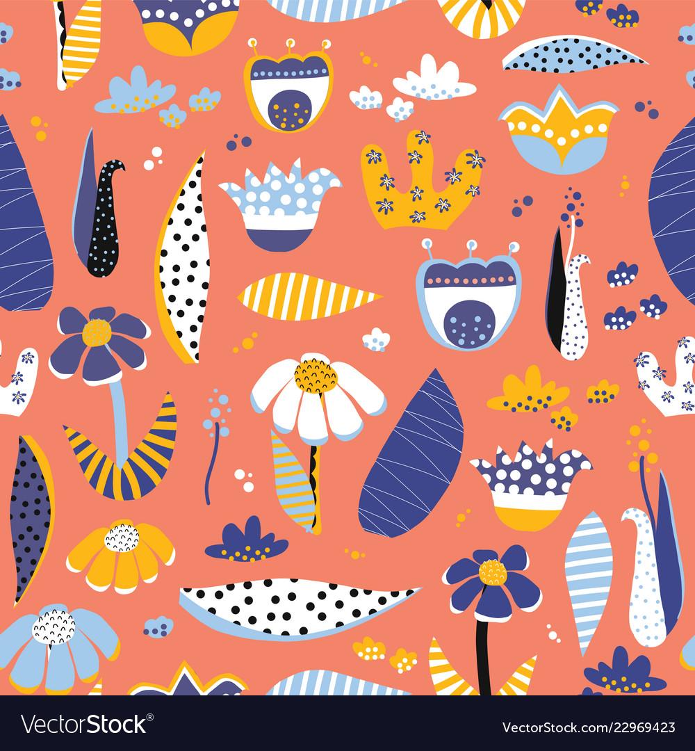 Scandinavian style flower collage pattern