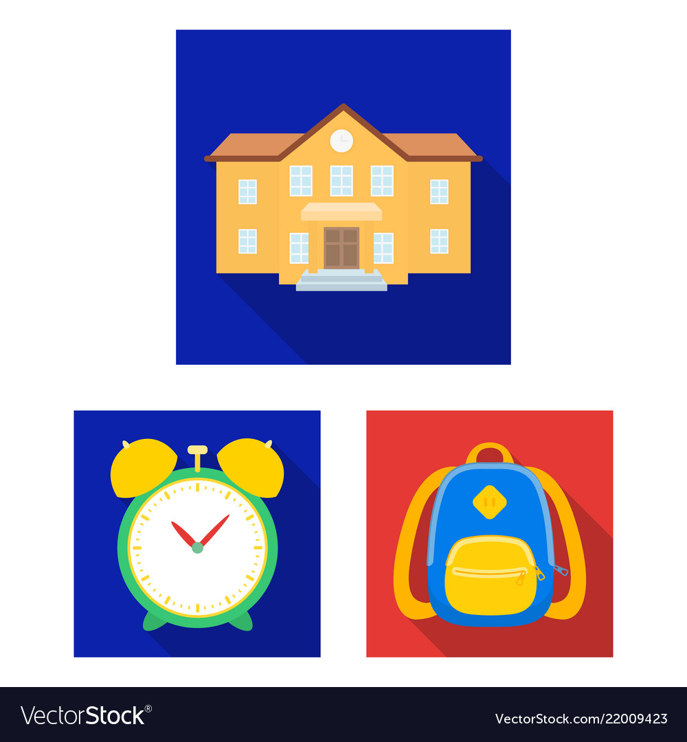 School and education flat icons in set collection