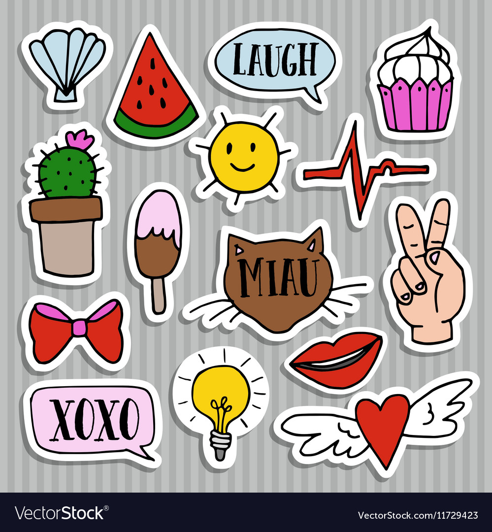 Set of fashion patches badges and stickers