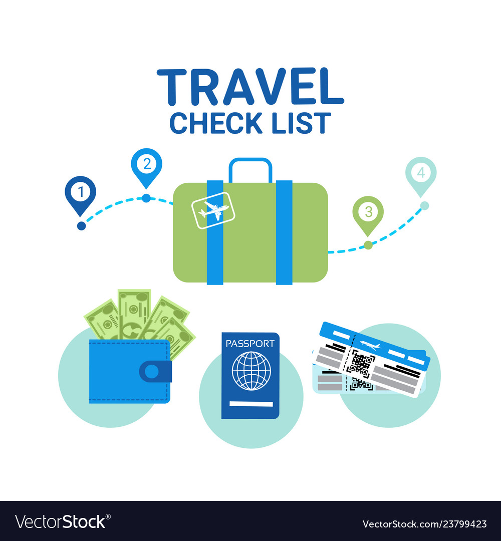 Travel check list icons template banner vacancy