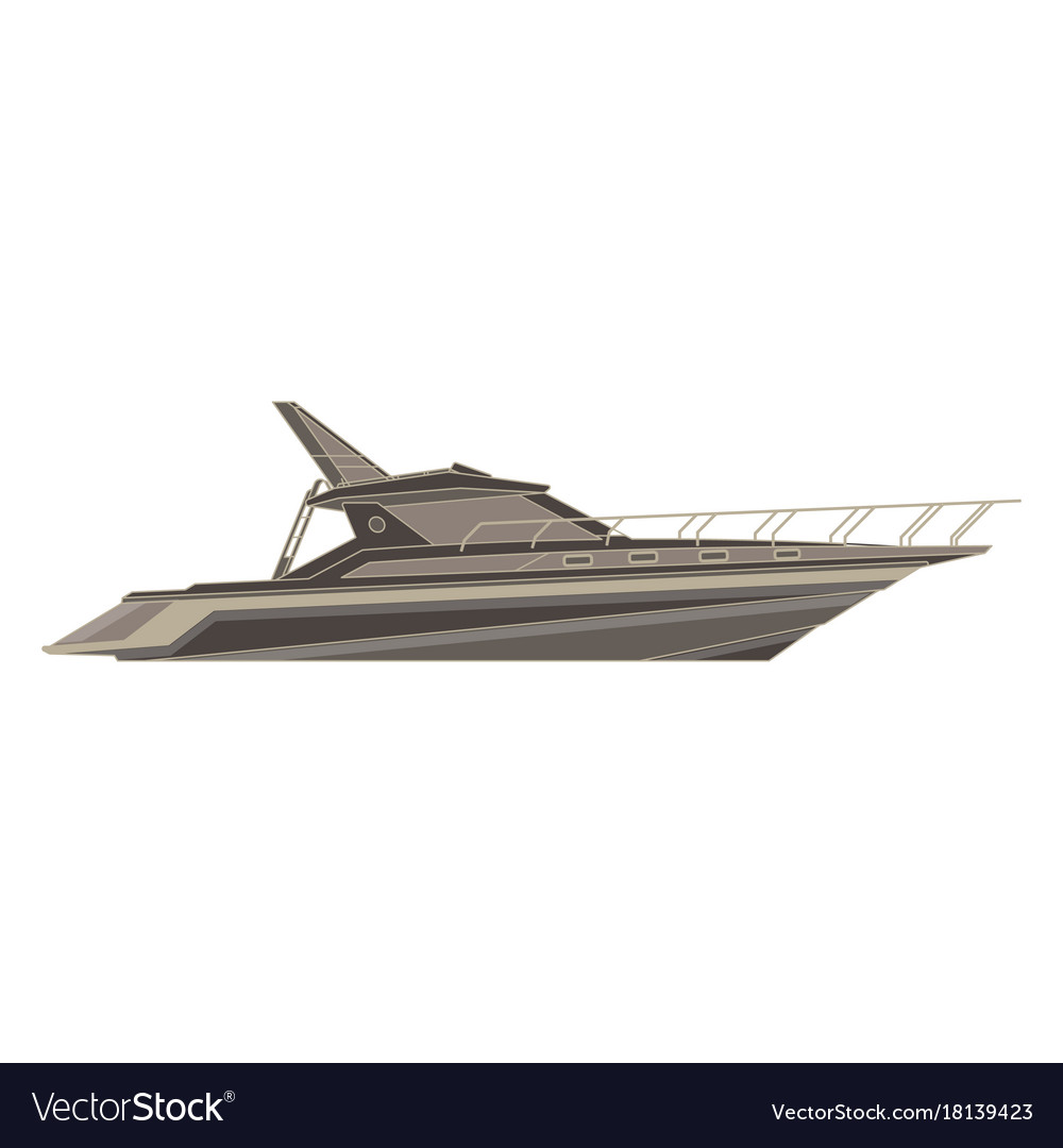 Yacht flat icon isolated boat side view cruise