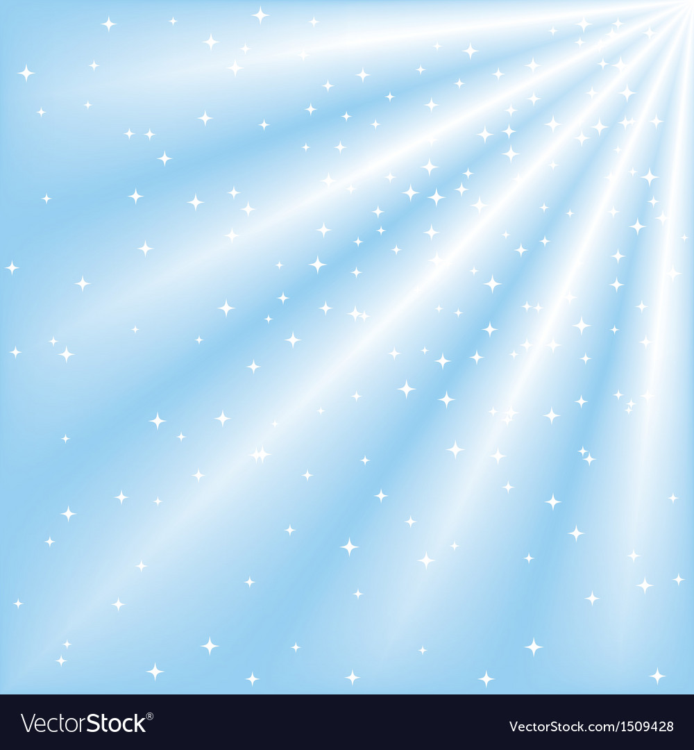 Blue sky with ray of lights and stars vector image