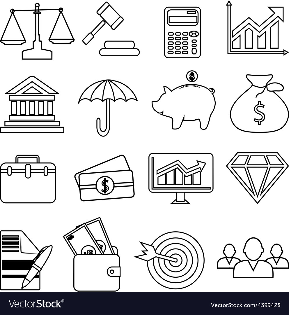 Business finance line icons set