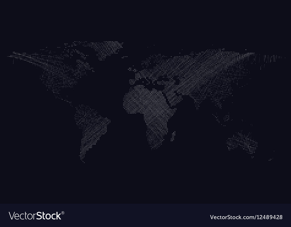 Dark background with white color dotted world map vector image gumiabroncs Gallery