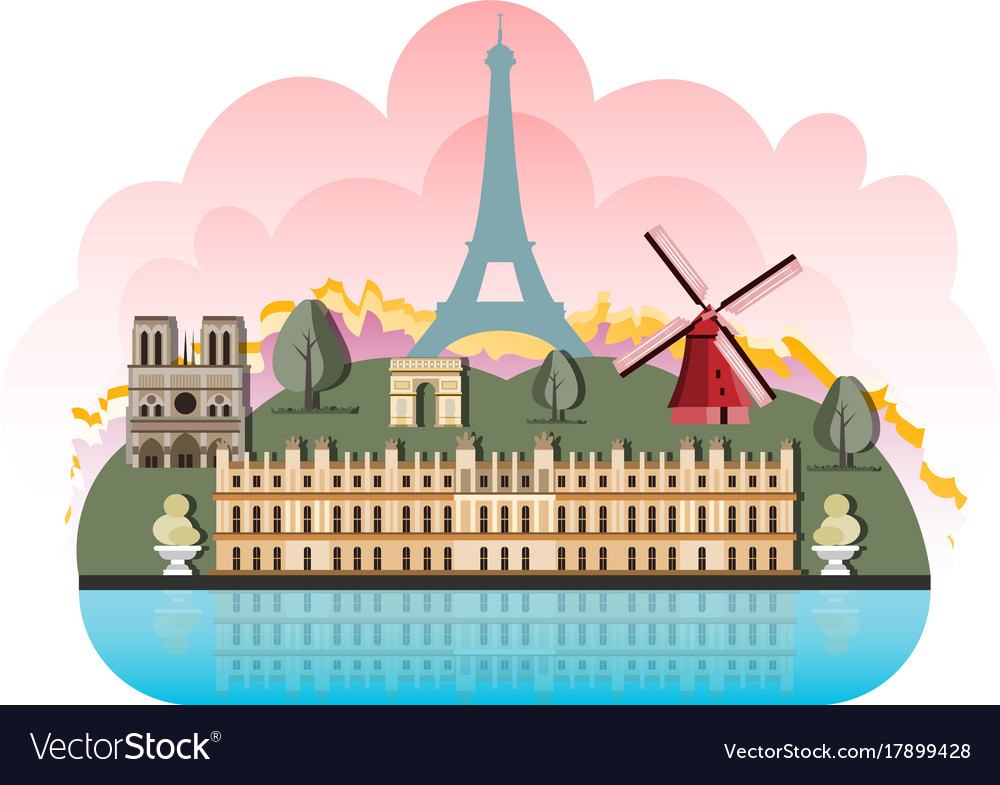 France travel destinations icon set vector image