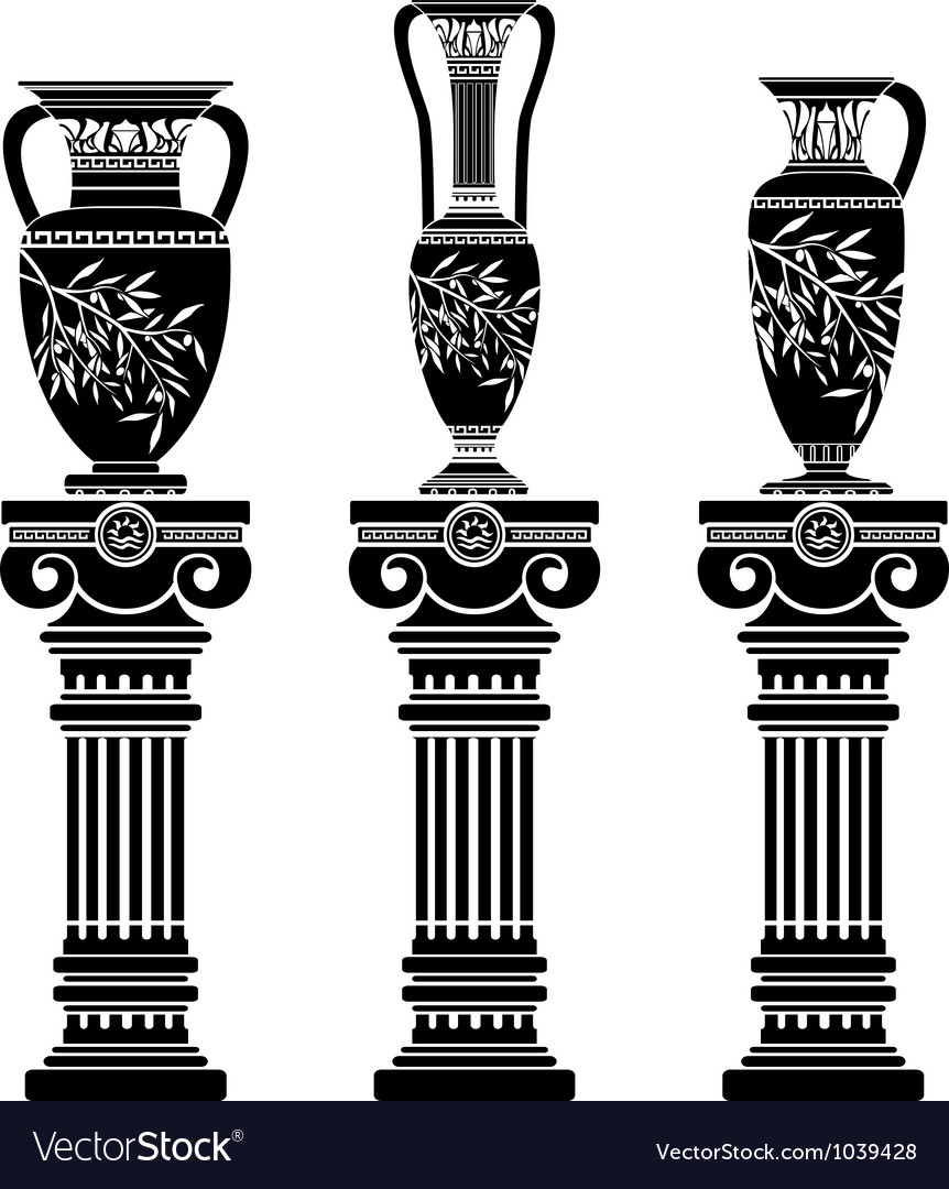Hellenic jugs with ionic columns vector image