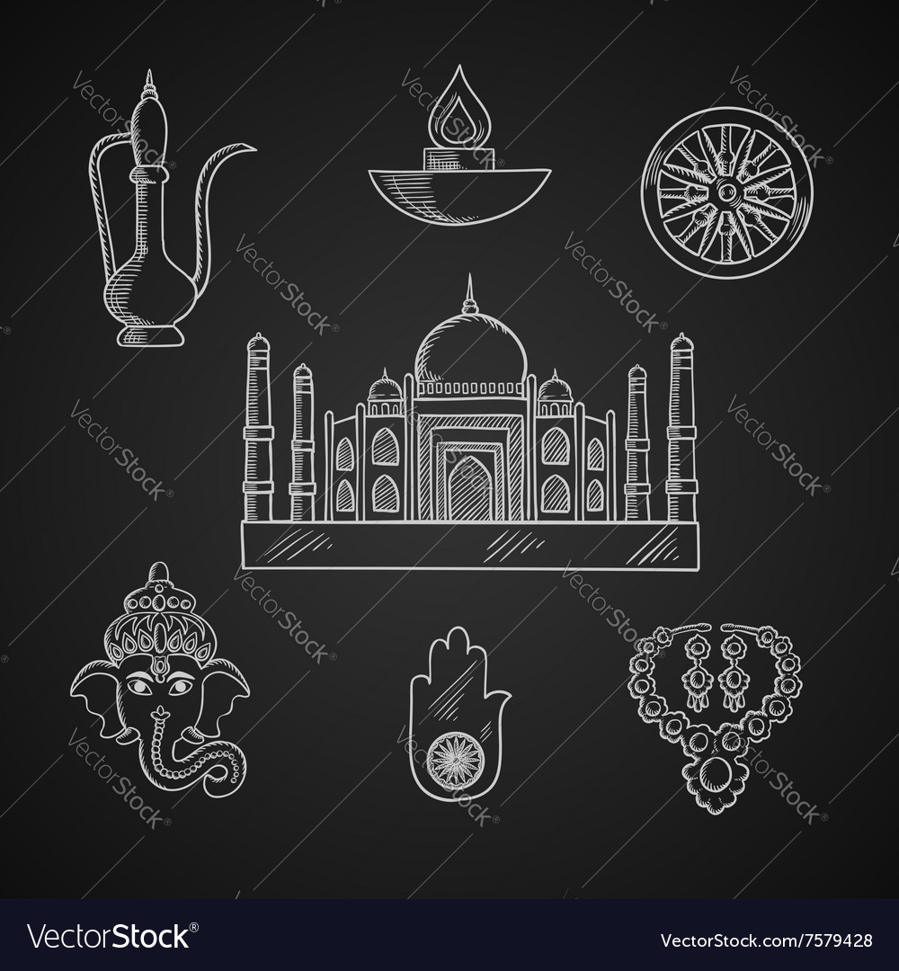 Indian Religion And Culture Symbols Royalty Free Vector