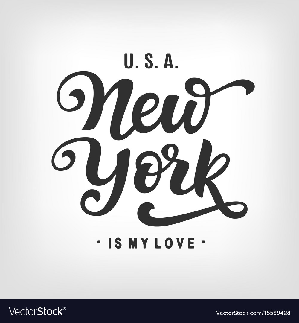 New york city typography with modern calligraphy