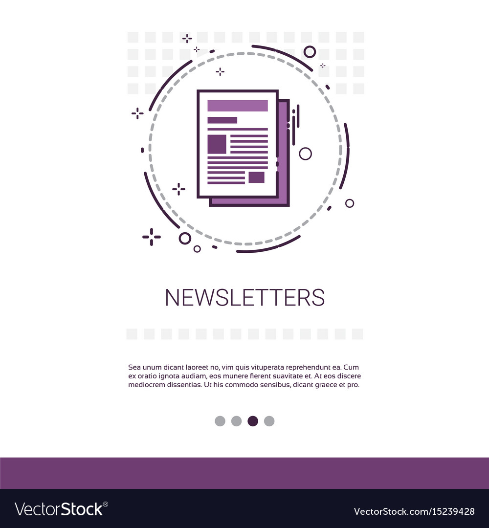 Newsletter application newspaper web banner with vector image