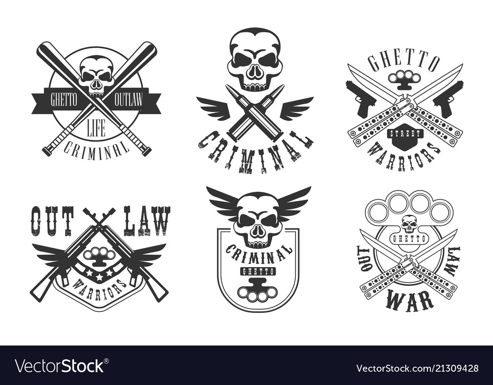Set emblems related to criminal theme