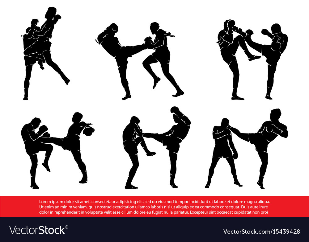 Set of thai boxing silhouettes in action vector image