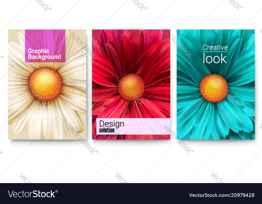 Set spring covers with text design and bud of