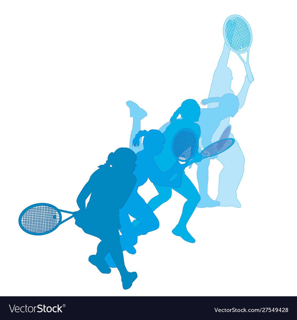 Set women playing tennis