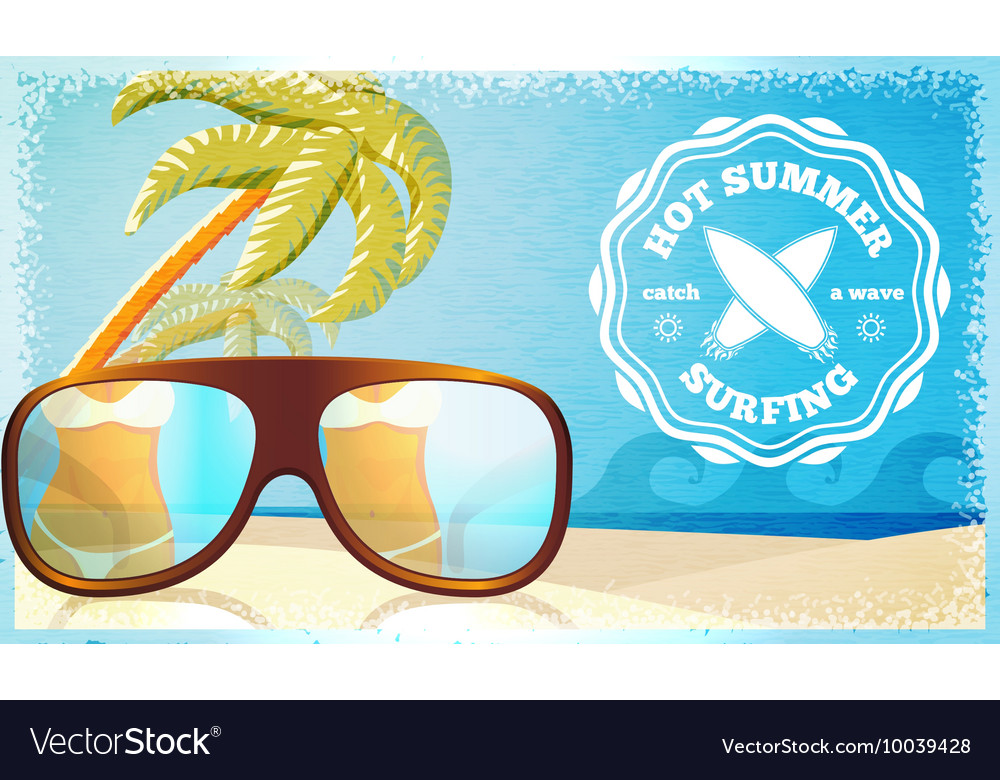 Surfing poster - ocean glasses and palms with vector image