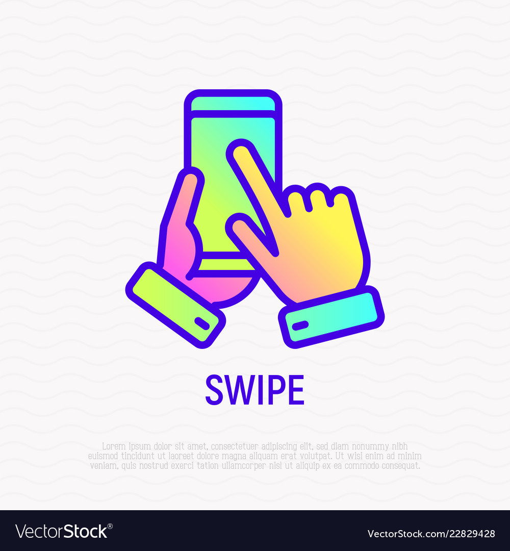 Swipe by hand on mobile phone thin line icon
