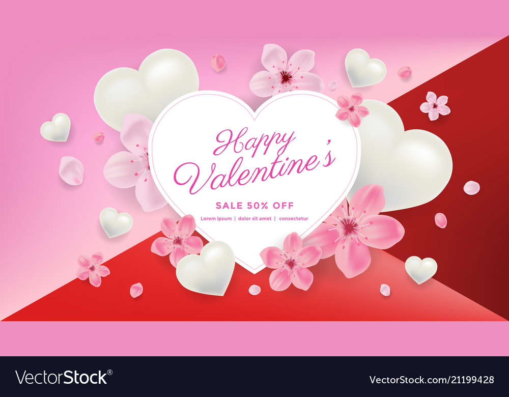 Valentines day sale background with flower