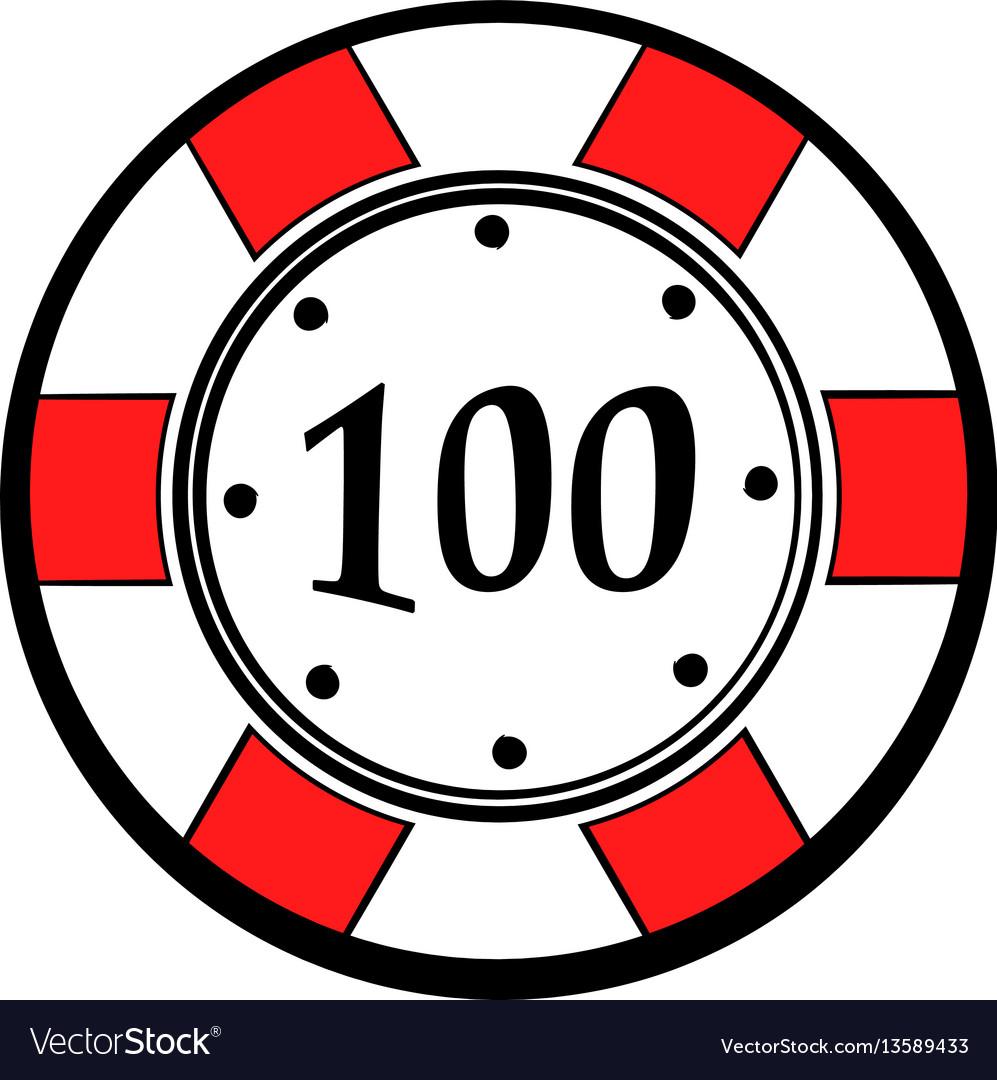100 dollars casino chip icon icon cartoon vector image