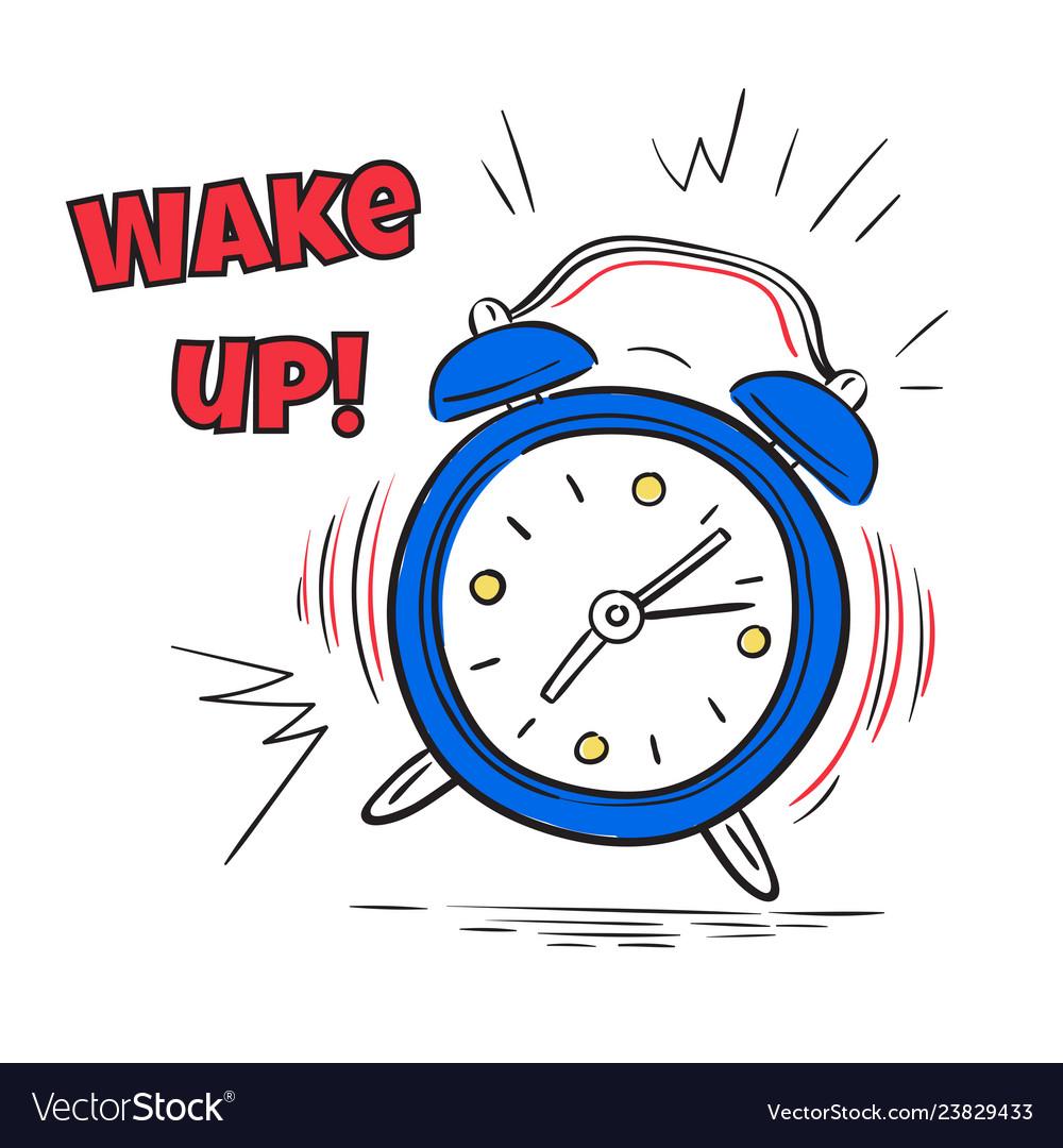 Alarm wake up clock ringing in morning hand