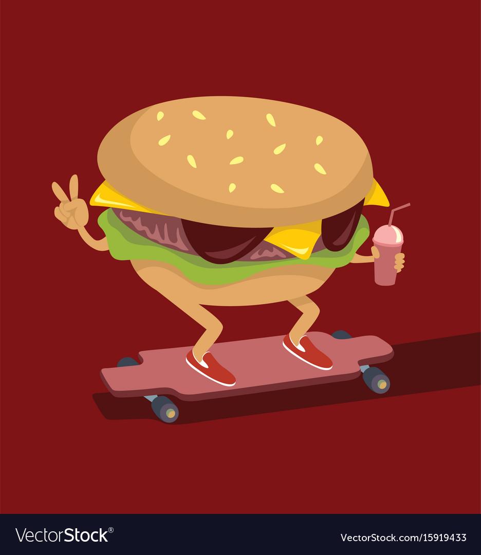 Burger skating on longboard
