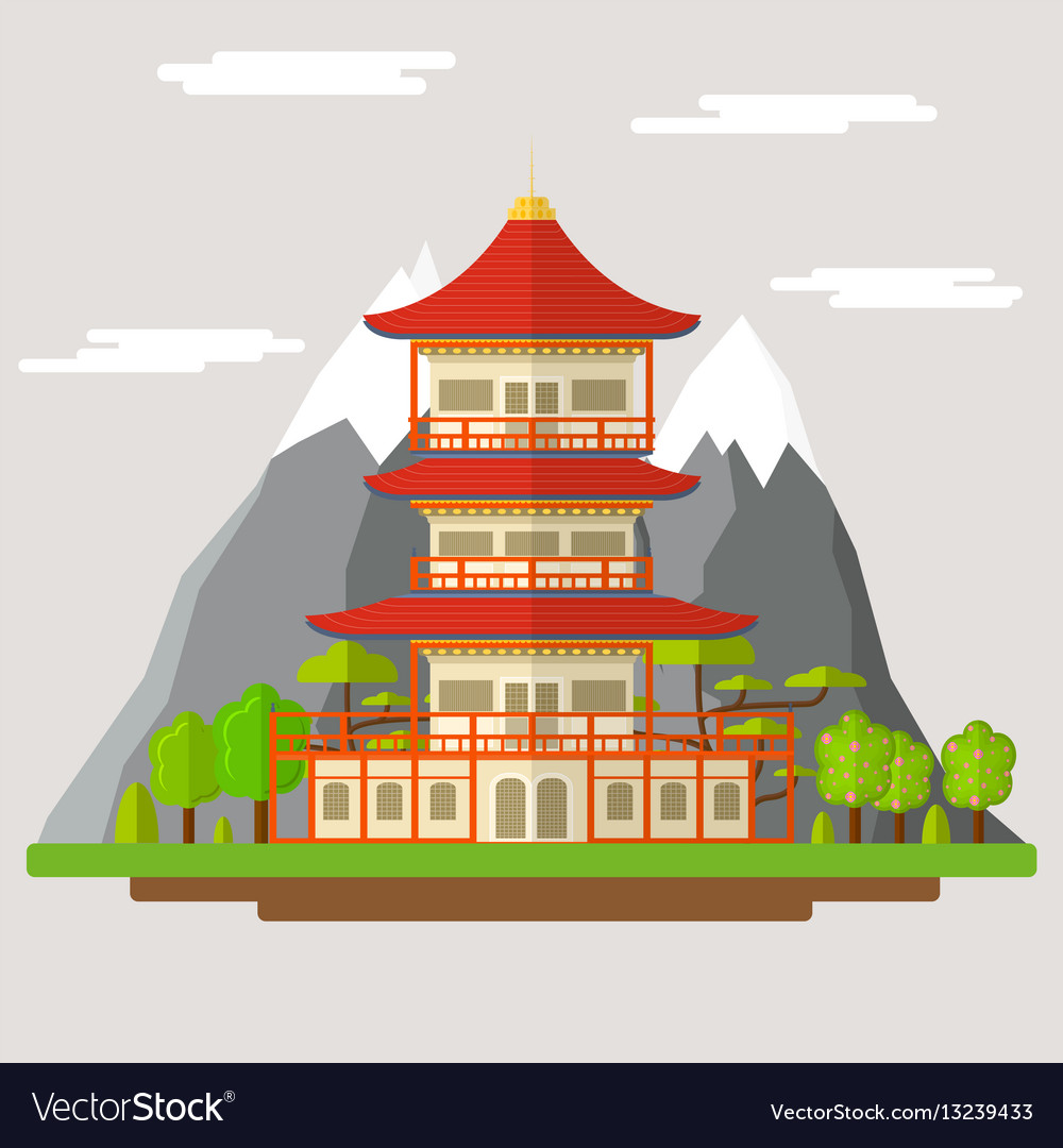 Cartoon Japanese Temple Royalty Free Vector Image