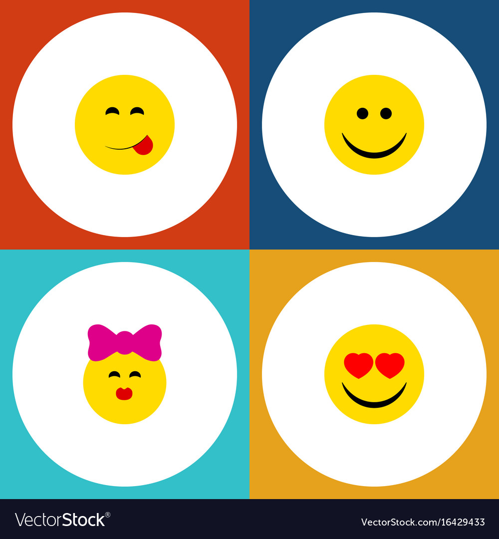 Flat Icon Emoji Set Of Caress Delicious Food Joy Vector Image