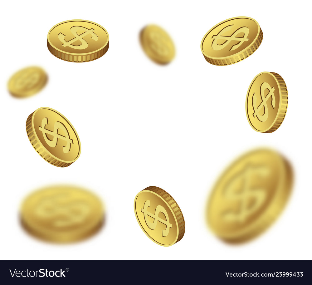 Flying dollar coins on a white background