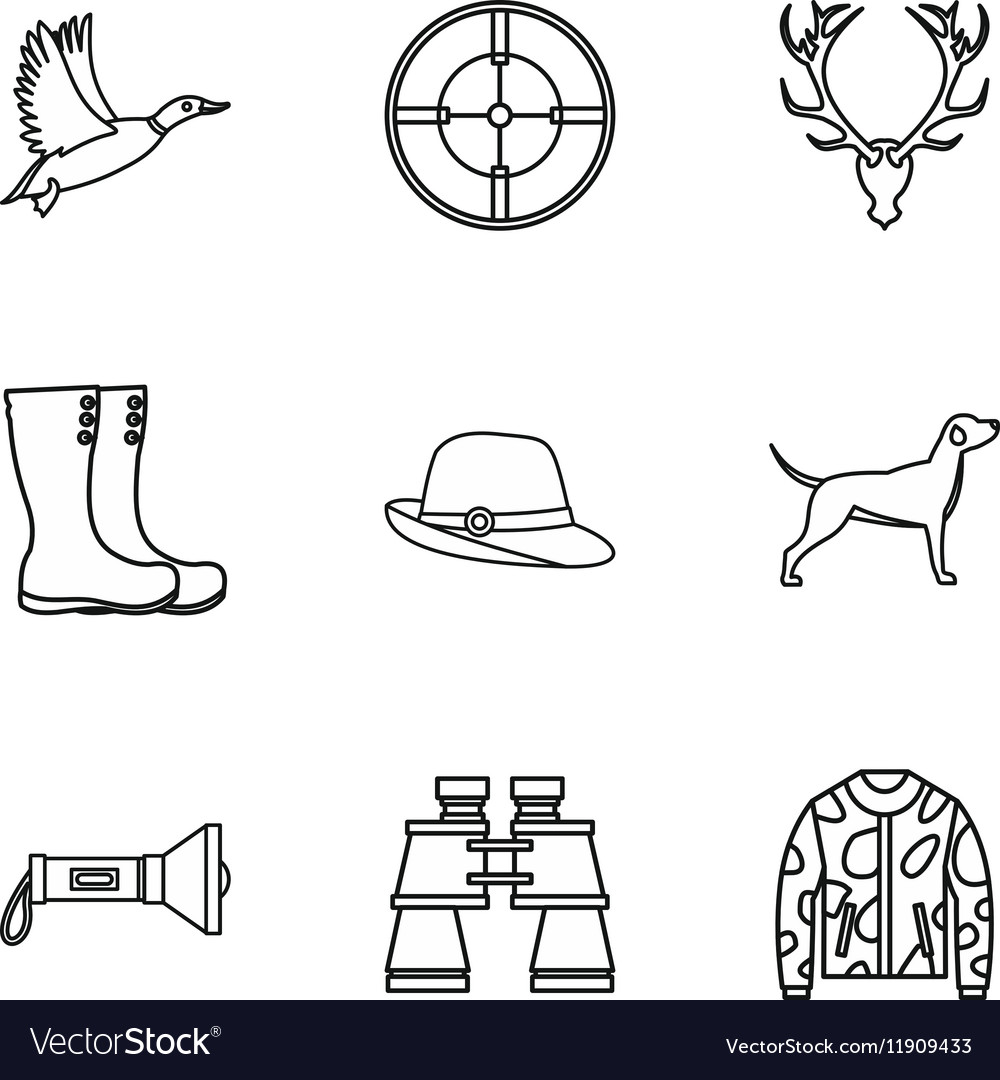 Hunting of animals icons set outline style vector image