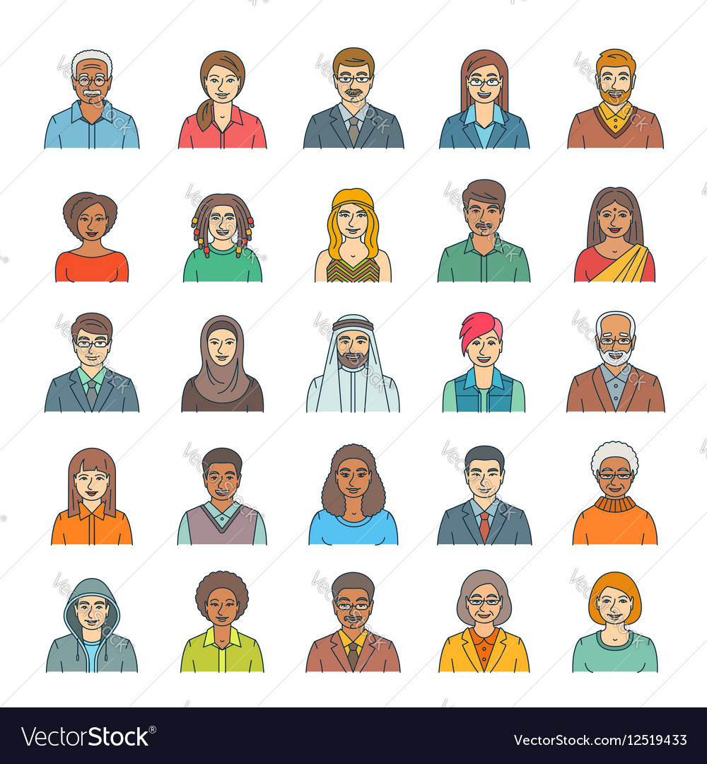 People faces avatars flat thin line icons