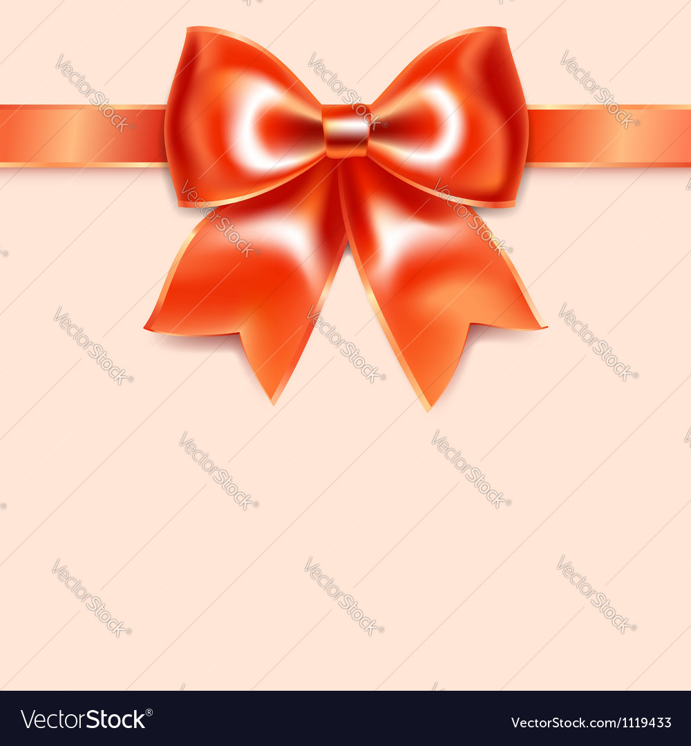 Red bow of silk ribbon isolated on pink background