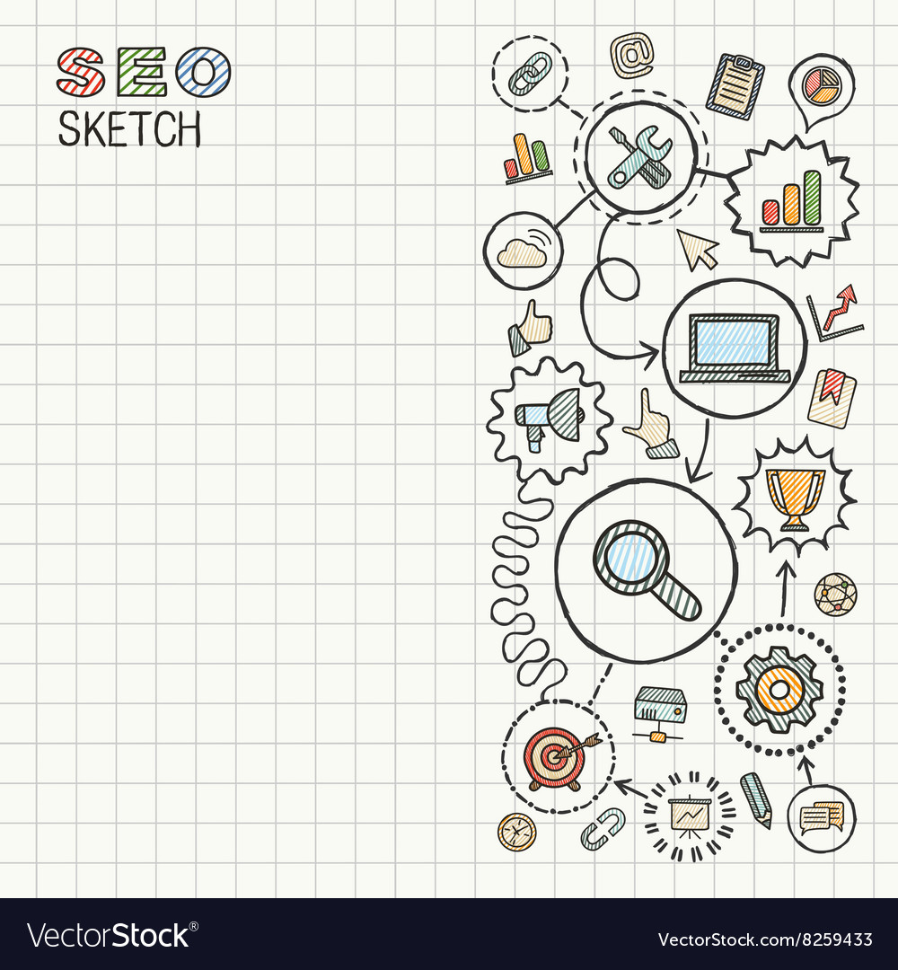 SEO hand draw integrated icons set on paper