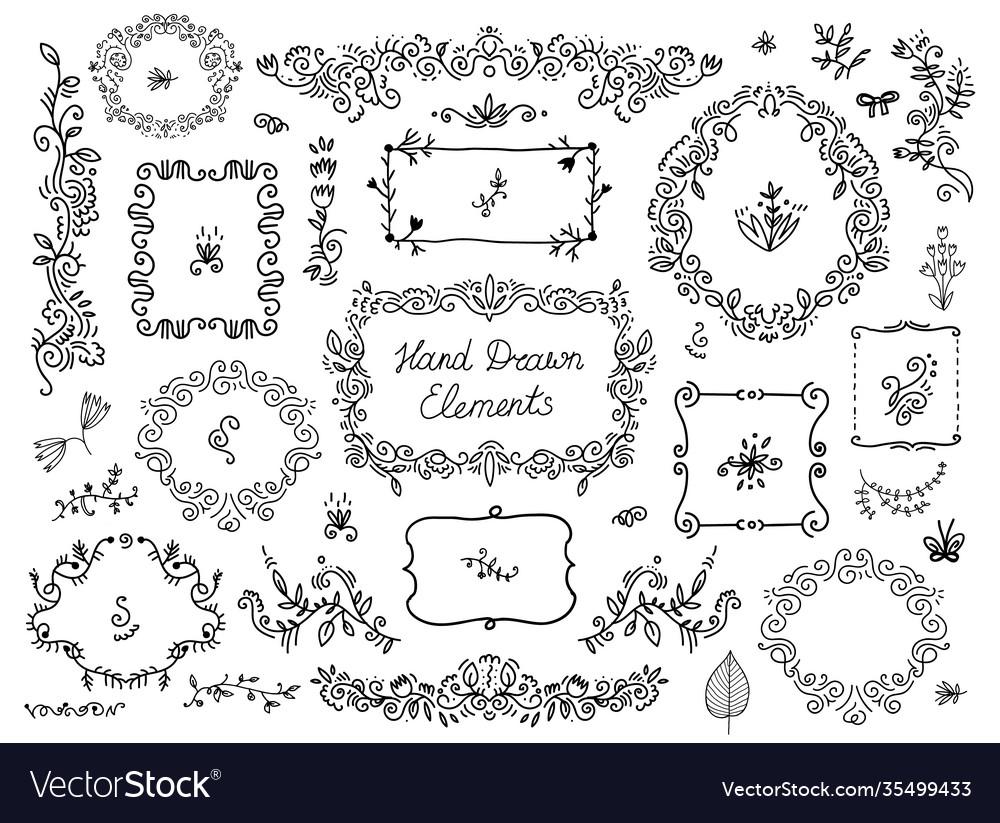 Set floral doodle grames dividers