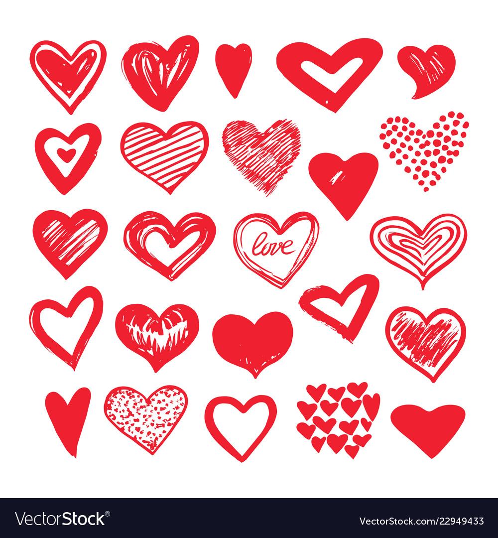 Sketch hearts romantic doodle love elements