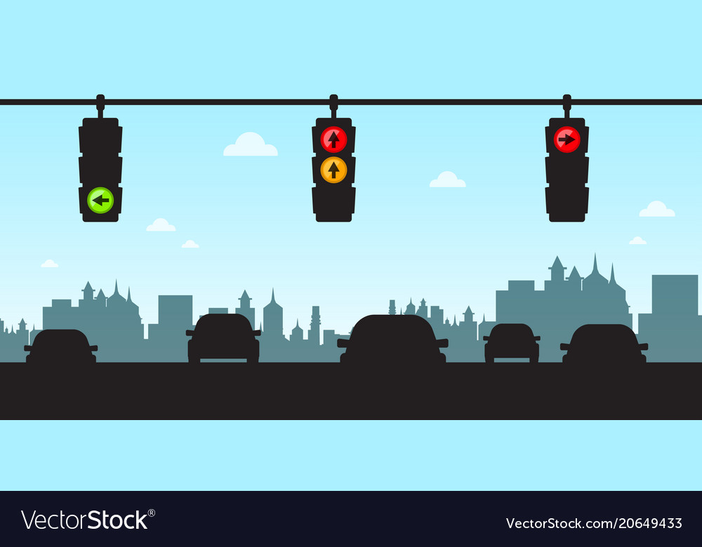 Traffic lights - cars in city with skyline