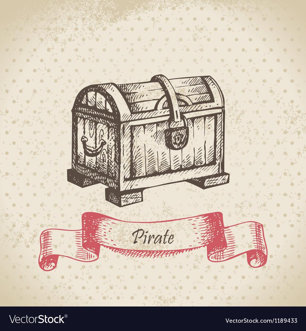 Treasure chest hand drawn vector image