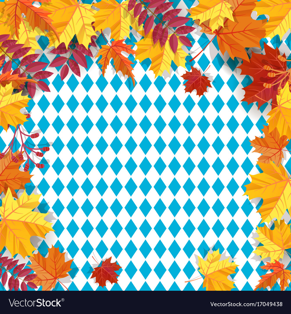 Autumn leaves on a background pattern of blue