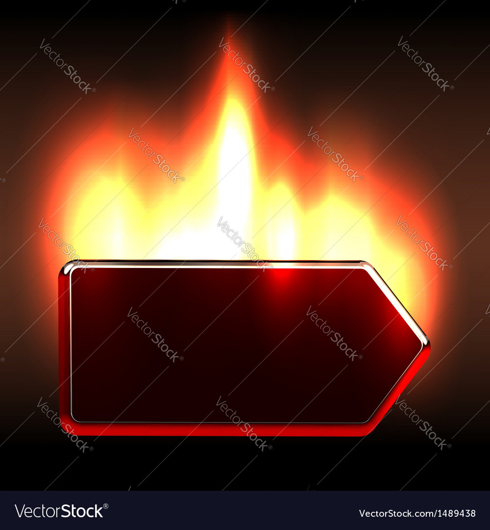Bright burning label notice vector image