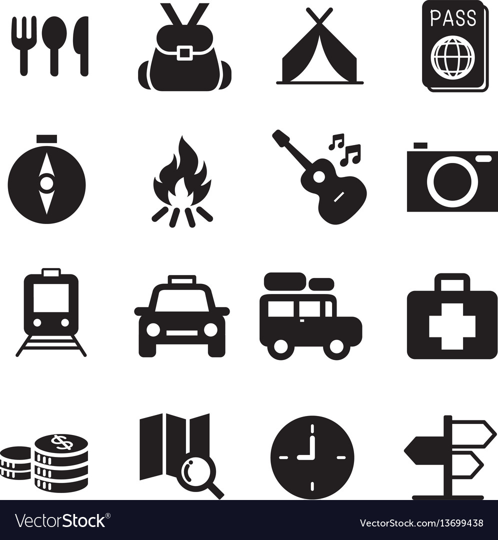 Discovery traveling camping icons
