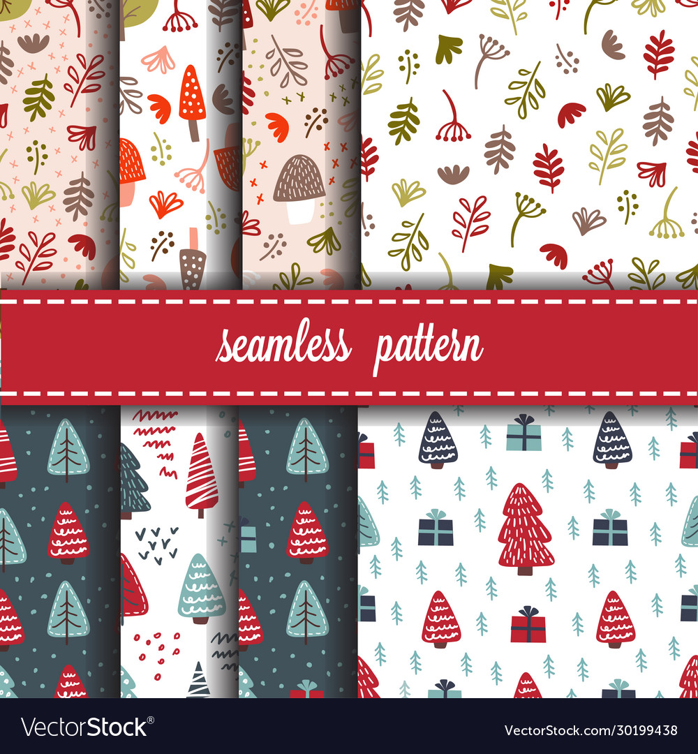 Forest and christmas seamless pattern set