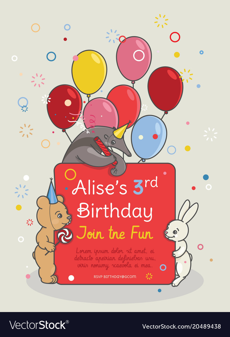 Invitation Card For Children S Birthday Party