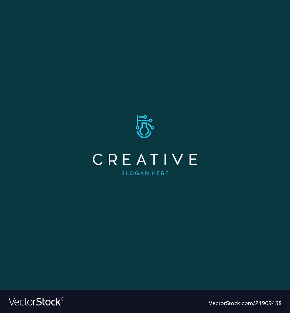Lab circuit technology science creative logo desig vector image