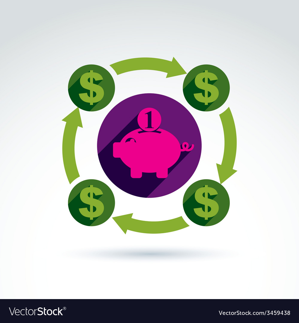 money dollar signs rotating around the piggy bank vector image