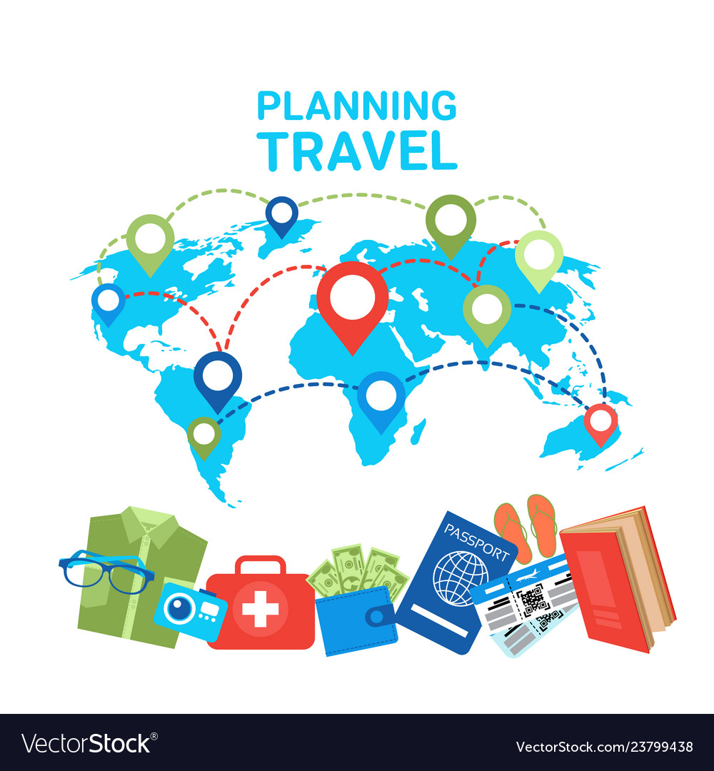 Planning travel concept pointers on world map