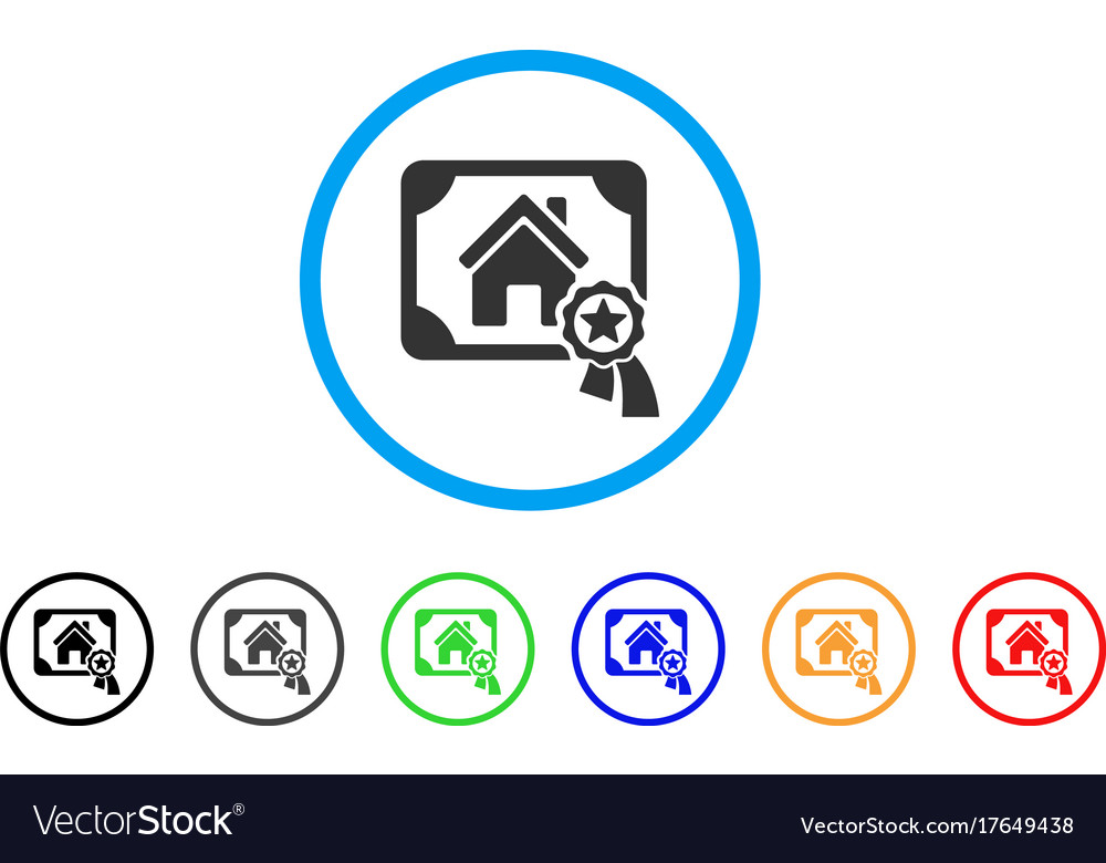 Realty certification rounded icon Royalty Free Vector Image