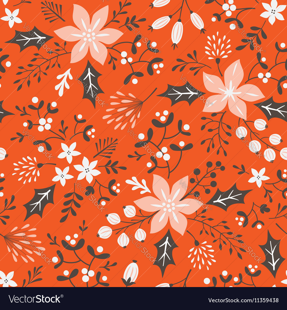 Red floral Christmas pattern