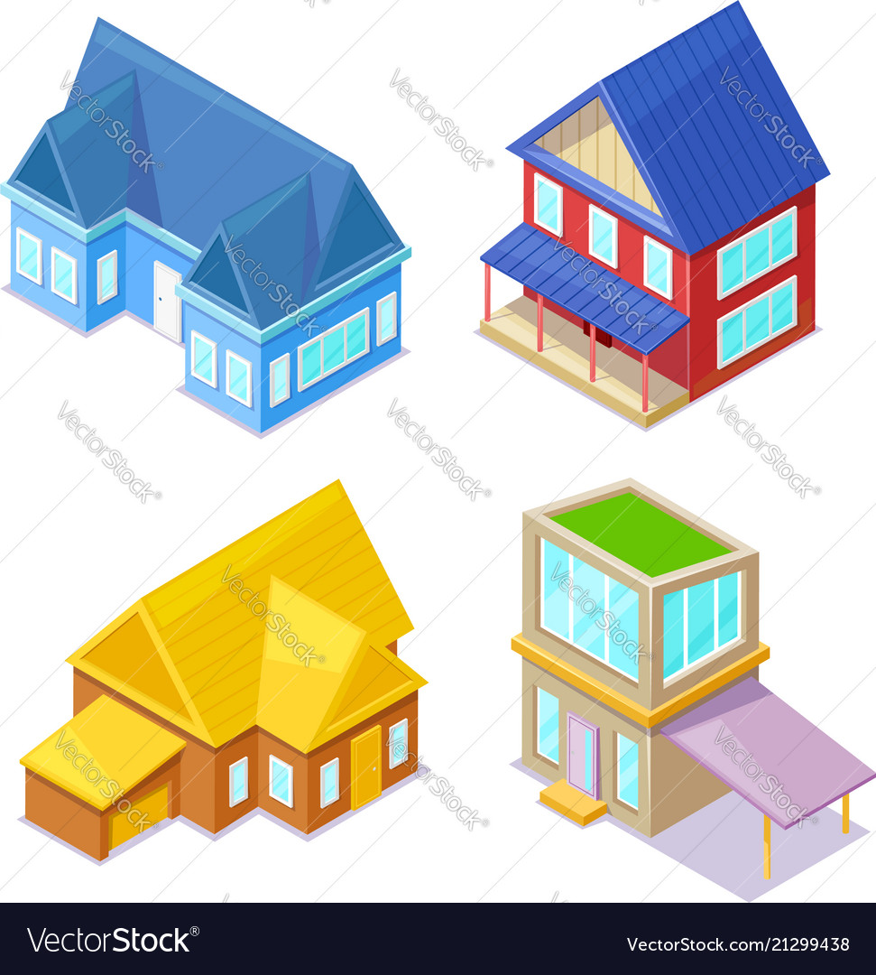 Sometric cottages on white background