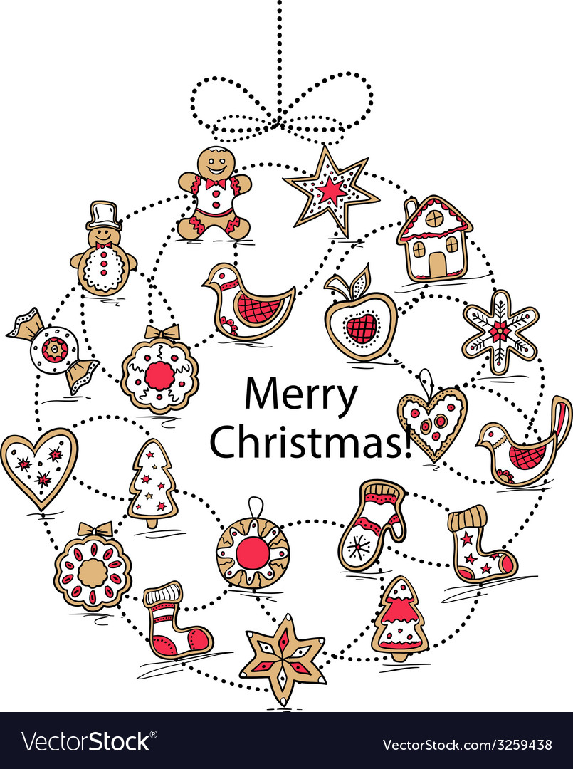 White greeting card with Christmas wreath Vector Image
