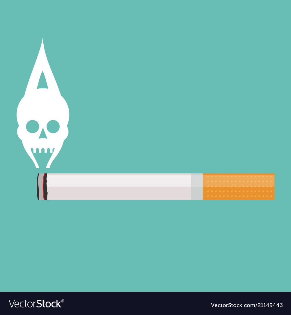 Burning cigarette with a smoke formed skull dead